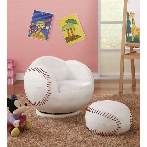 Small Baseball Chair and Ottoman Set