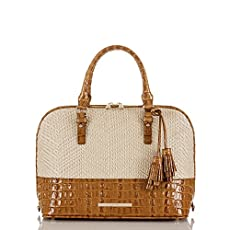 Vivian Dome Satchel<br>Whiskey Raffia