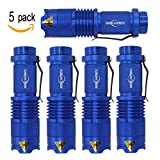 Mikafen 5 Pack Mini Cree Q5 LED Flashlight Torch 7w 350lm Adjustable Focus Zoomable Light (Blue)