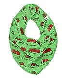 Babero de toalla con forma de pañoleta para niños, diseño con coches, color verde