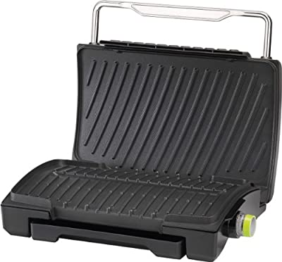 T-fal GC4208 4-Burger Curved Grill with Non-Stick Plates, Silver by T-fal