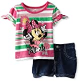 Disney Baby-Girls Infant 2 Piece Minnie Mouse Stripped Pullover And Short