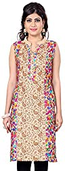 Fashionx multi-colour pure cotton embroidered and printed full length kurti