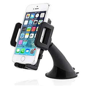 Car mount, Aukey Windshield Car Mount Holder Cradle for iPhone 6 5S 5C, Samsung Galaxy S5 S4 S3, Optimus; Compact Size GPS; iPod Touch; MP3 Player and other smartphones (AK-3D)