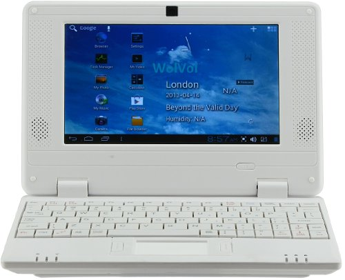 WolVol NEW (Android 4.0 - 1GB RAM) SOLID WHITE 7inch Mini Laptop Notebook Netbook PC, WiFi and Camera, HDMI Port (Includes Mini PC Mouse, Charger, Velvet Case)