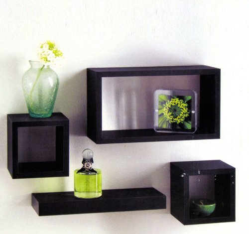 Set of 4 Black Wooden Wall Mounted Retro Floating Cube Shelving Storage Display Shelf Shelves