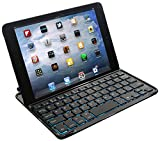 FlyStone Ultra-Thin Backlit Bluetooth Wireless Keyboard Case / Cover with Stand for iPad Air - Built-in High Capacity Lithium Battery. Keyboard backlit with 7 selectable colors (COMES WITH FLYSTONE STYLUS & CLOTHES.)