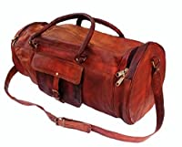 "26"" Men's Genuine Leather Vintage Duffle Gym Large Travel Weekend Luggage Bag"