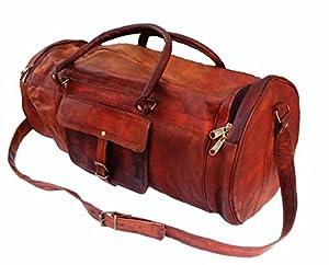 "26"" Men's Genuine Leather Vintage Duffle Gym Large Travel Weekend Luggage Bag"