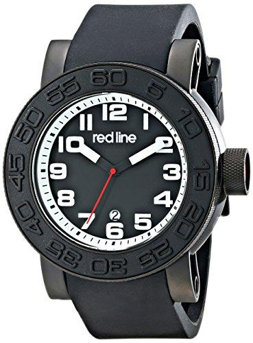Red Line Men's Xlerator 52mm Black Silicone Band IP Steel Case Quartz Date Analog Watch 50051-BB-01