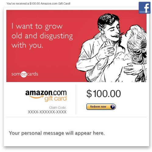 Amazon Gift Card - Facebook - Valentine'S Day (Grow Old) [Someecards] front-731587
