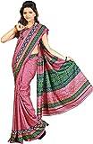 Miraan Silk Printed Saree (SD5326_Pink & Green)