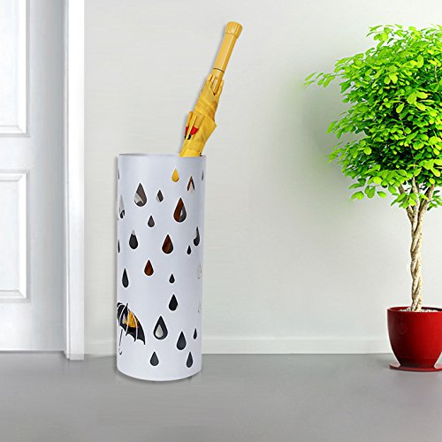 SONGMICS Metal Umbrella Stand Silver Gray Umbrella Holder ...