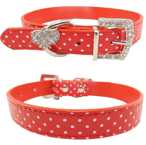 Cute Fancy Bling Heart Red Polka Dots Rhinestones Adjustable Dog Collar (MEDIUM) **SHIPS NEXT DAY FROM USA**