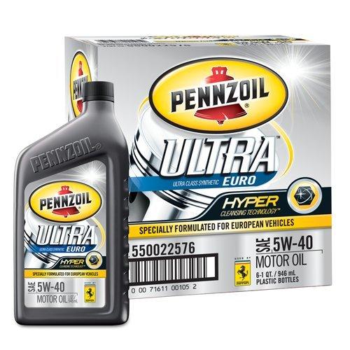Pennzoil 550022576 6pk Ultra 5w 40 European Full Synthetic Motor Oil 1 Quart Pack Of 6 Super