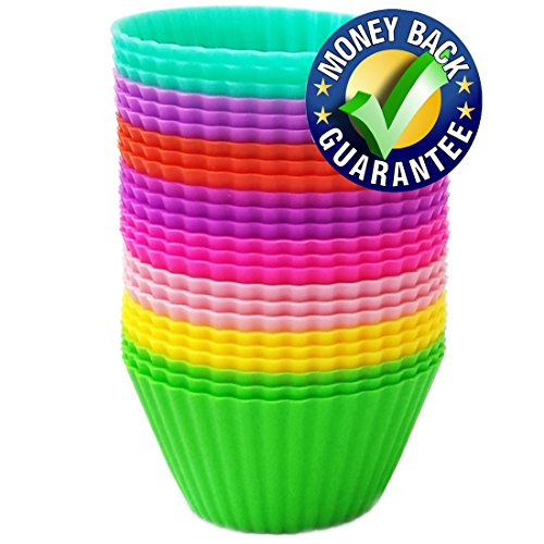 Silicone Baking Cups - Premium Quality - Non-Stick - Best 24 Cupcake Liners - Special Gift Packaging - Enjoy