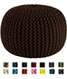 Cotton Craft - Hand Knitted Cable Style Dori Pouf - Chocolate - Floor Ottoman - 100% Cotton Braid Cord - Handmade & Hand stitched - Truly one of a kind seating - 20 Dia x 14 High
