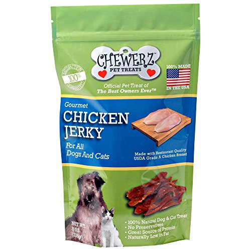 Chewerz CHICKEN JERKY DOG TREATS - Made in USA Only - Best Pet Snacks Since Homemade - #1 Ingredient - All Natural Strips of Premium USDA Grade A Chicken Breast - (8 oz) (Made In America Rawhide compare prices)