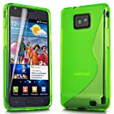 ONX3 Samsung Galaxy S2 i9100 Green S Line Wave Gel Case Skin Cover + LCD Screen Protector Guard