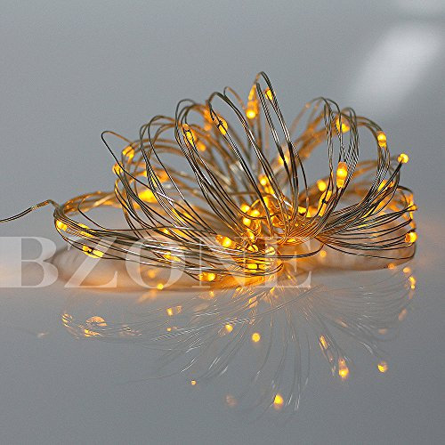 BZONE Home Outdoor LED Decorative Solar Light Flexible Waterproof LED String Lights (16.4ft/5m 50 Mini LEDs, Yellow Color)