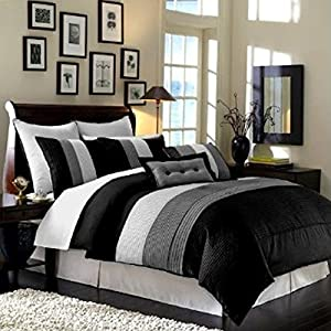 Legacy Decor 8pcs Modern Black White Grey Luxury Stripe Comforter (90