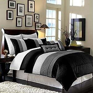 Legacy Decor 8pcs Modern Black White Grey Luxury Stripe Comforter (90