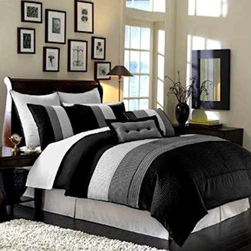 "8Pcs Modern Black White Grey Luxury Stripe Comforter (90""X92"") Set Bed In Bag - Queen Size Bedding front-933847"