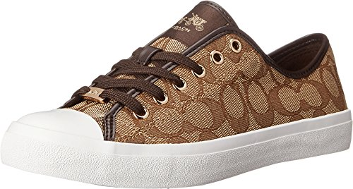 Coach Womens Empire Outline Sneaker Khaki/Chestnut Size 10