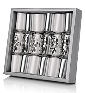 6 Silver Foliage Connoisseur Christmas Crackers