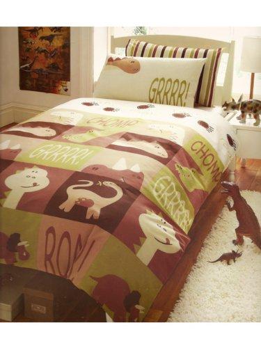 Completo letto singolo lenzuola copripiumino dinosauri double face - Completo lenzuola letto singolo ...