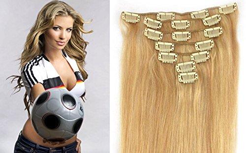 """Echthaar Haarverdichtung Clip in Remy Haar Extensions Erganzungsset 15""""/70g/7pcs/set #27/#613-rotblond/hellste Blondine"""