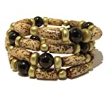 Jet Bracelet 05 Wrap Genuine Black Stone Betel Nut Gold Wood Triple Coil Layer Adjustable Healing Reiki