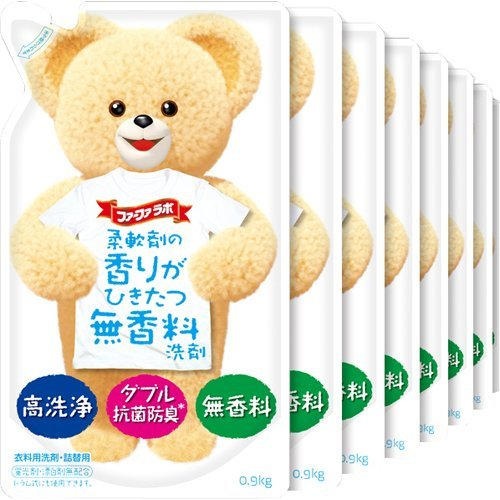 【ケース販売】ファーファ 液体衣料用洗剤 柔軟剤の香りがひきたつ無香料 詰替 0.9kg×16個