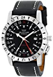 Glycine Airman Base 22 Stainless Steel Automatic Watch with Black Leather Band