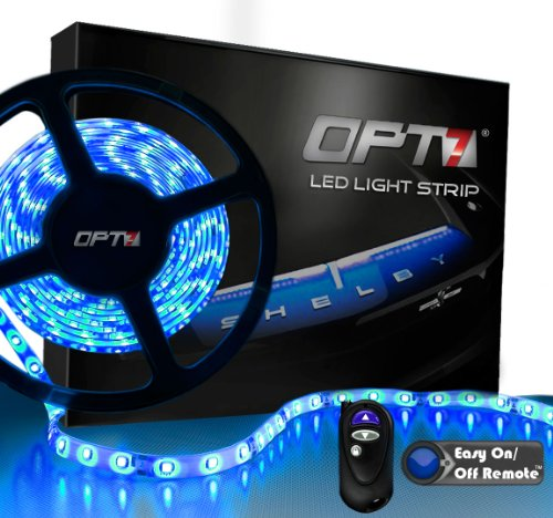 Opt7 Automotive Led Light Strip & Connectors - 300-Advanced Bright Smds - 20 Led Strips - Blue W/ Remote