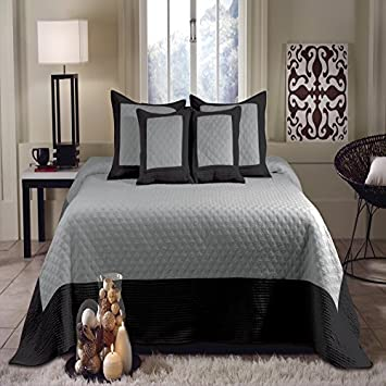 Vintage Modern Black Grey Bedding Quilted Cotton Bedspread Set Oversized King