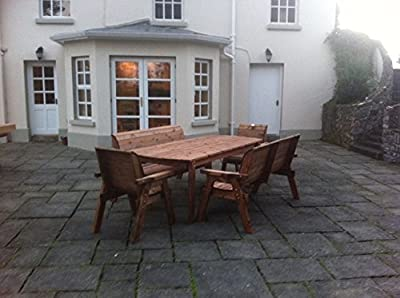 HGG 8 Seater Wooden Garden Table, Bench and Chair Dining Set - Outdoor Patio Solid Wood Garden Furniture