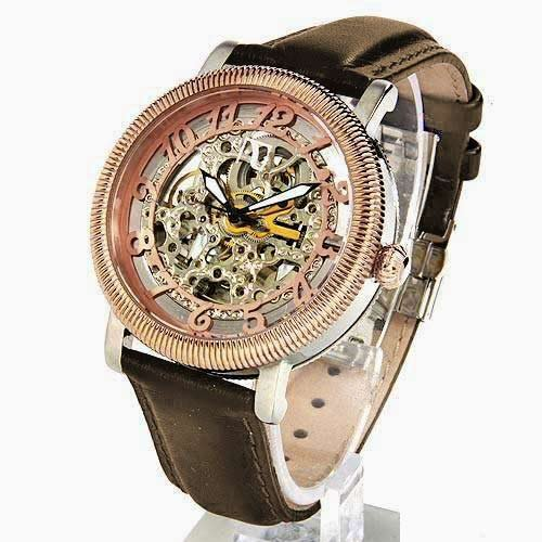 Auguste Galan Rose Gold and Silver Tone Mens Mechanical Skeleton Watch with Brown Strap. Model AG-4588