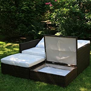 polyrattan doppelliege braune gartenliege sonnenliege. Black Bedroom Furniture Sets. Home Design Ideas