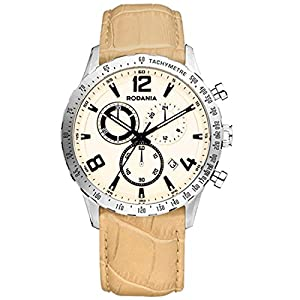 RODANIA 26086-21 42mm Stainless Steel Case Brown Calfskin Mineral Men's Watch