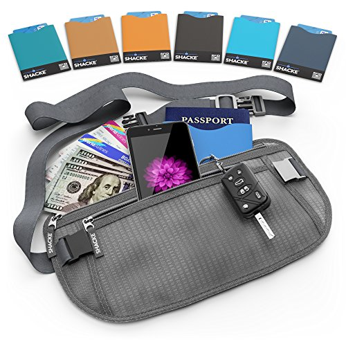 Shacke Money Belt Pouch w/ Slacker Clip Technology - RFID Passport & CC Card Sleeves Included (Gray) (Aj Money Belt compare prices)
