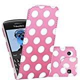 ITALKonline BlackBerry 9360 Curve Pink White Polka Dots PU Leather Executive Multi-Function Vertical Flip Wallet Case Cover Organiser