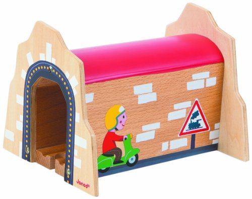 Janod Juratoy Wooden Wood Express Train Railway Add-On Tunnel Track Set - 1