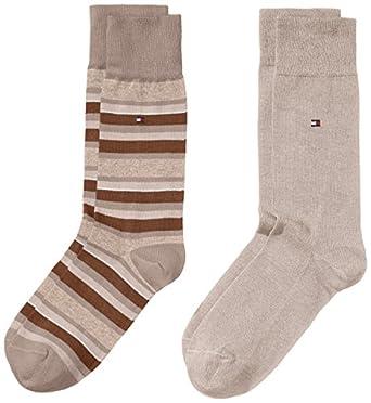 Tommy Hilfiger TH MEN VARIATION STRIPE SOCK 2P - Chaussettes - Homme - Beige (Light Beige Melange 369) - 39-42 (Taille fabricant: 39-42)