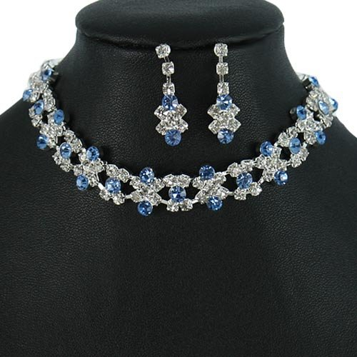Silver and Light Sapphire Blue Crystal Rhinestone Choker Necklace Set