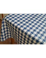 "Blue Hill, 52""x90""; Classic Blue Tavern Check, Flannel Backed, Vinyl Tablecloth; ""Made in the U.S.A"""