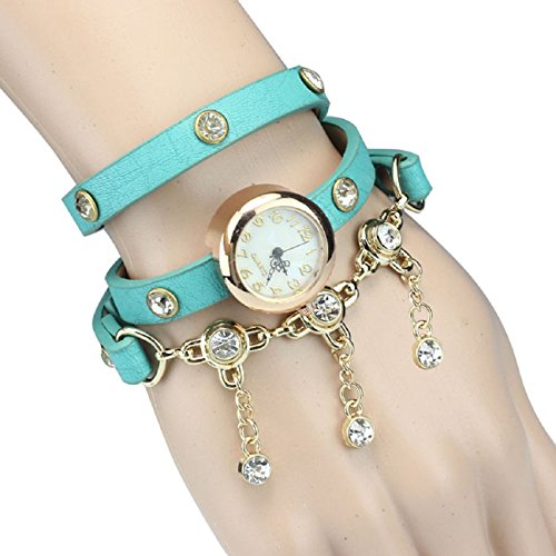 Tonsee(Tm) Fashion Women Bowknot Crystal Quartz Watch Imitation Leather Watch (Rivet#Blue)