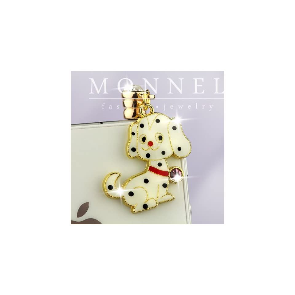 ip410 Cute Black Dots White Puppy Dog Anti Dust Plug Cover Charm for iPhone 3.5mm Cell Phone