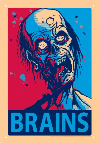 Zombie Brains Tin Sign