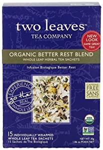 Two Leaves Tea Company Organic Better Rest Blend Herbal Tea, 1.06 Oz Boxes,Pack of 6
